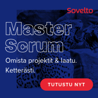 Scrum kurssit Sovelto -banneri