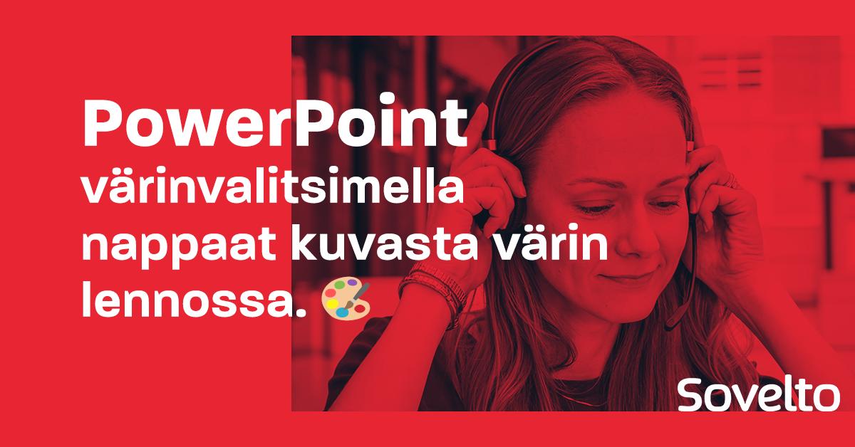 PowerPoint värinvalitsimella nappaat kuvasta värin lennossa